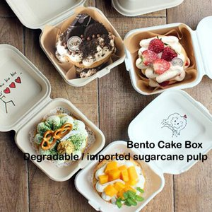 10pc Disposable Bento Box Burger Sushi Snack Pulp Baking Cake Microwave Eco-friendly High-end Student Lunch C50 Take Out Containers
