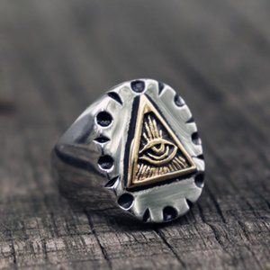 Masonic Triangle Illuminati Biker Rings Mens Mexican Vintage Punk Stainless Steel Ring Freemason Jewelry Gifts Cluster