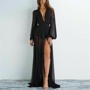 Summer Sexy Women Chiffon See-through Bikini Long Cover Up Swimsuit Swimwear Beach Dress Bathing Suit Women's