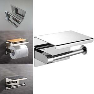 Toilet Paper Holders 304 Stainless Steel Wall Mount Bathroom Tissue Holder With Shelf Rack