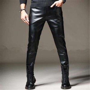 Мужские весенние панталоны теплые PU Pantalons плюс размер PU карандаш брюки мужские негабаритные плюс бархатные толстые кожаные брюки