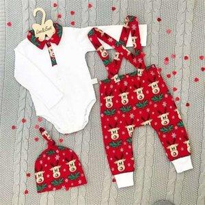 3 штуки новорожденного одежды набор 0-18 месяцев детские мальчики наряд с длинным рукавом ромпер топы нагрудник нагрудник брюки шляпы детские девушки рождественские setq1221 q0112