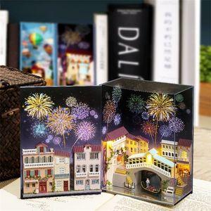 Nook Cutebee Wooden Book Inserts Art Bookends Diy Bookshelf Miniature Doll House Dollhouse Casa Toys for Kids 201217