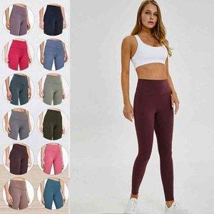 LU-32 LU Leggings Womens Yoga Suit Suit Pantaloni a vita alta Sport Aumentare i fianchi Palestra Abbigliamento Allineare Allenamento per calzamaglia di fitness elastici