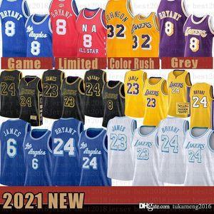 2021 Nova Jersey de Basquete Los AngelesLakers.Kobe.24.Bryant Lebron 23 James Mens Anthony 3 Davis Kyle 0 Kuzma Gray