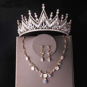 Brautkleid Kopfschmuck Kleid Zubehör Drei-Stück-Krone Halskette und Ohrringe Hand-verziert mit AAA-Grad-Rhinestones Modisch für Geburtstagsfeier-Prom