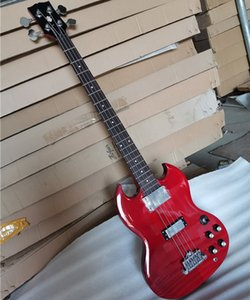 In stock 4 Strings Red Body Electric Bass Guitar with Rosewood Fingerboard,2 Pickups,Chrome Hardware,Can be customized