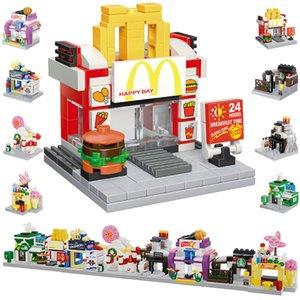 Eight in one Compatible splicing Blocks Mini city streetscape Architectural scene Combination model toys Children's gifts