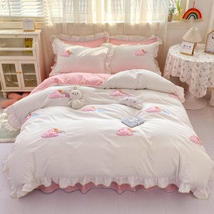 Girls Wedding Cotton Bedding Sets 3D Cloud Embroidery Duvet Covers Bed Skirt Pillowcases Bedlinens 4 Piece set Queen Calfornial King Size Beddings Supplies HXSJ04