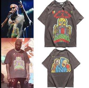 2021 Europa e América Kanye casal puro maré de algodão marca alta rua lavagem t-shirt manga curta homens e camisa feminina