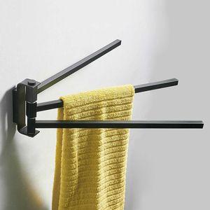 Brass Bathroom Towel Holder Bar Rail Wall Chrome Mounted Swivel Swing Arm Toilet Rack Accessories Rings