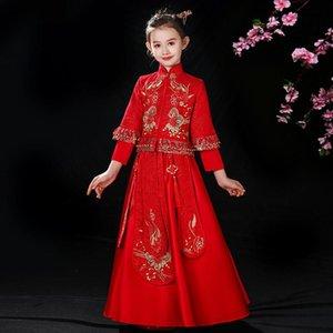 Costume tang pour enfants fille style chinois de style chinois 2 pièces petite fille xiuhe vêtements guzheng show robe de powalk automne hiver