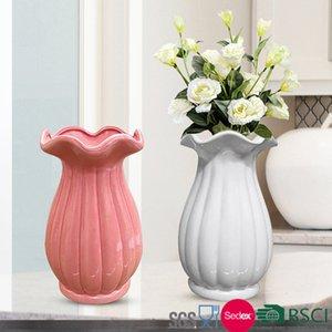 Jarrón encantador Jardiniere 12 * 12 * 20cm Decoración del hogar Jarrones de cerámica Flor de encaje
