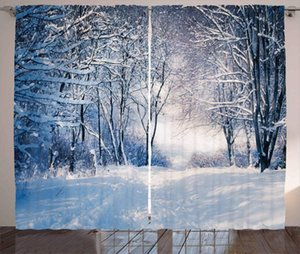 Curtain & Drapes Winter Curtains Alley In Snowy Forest Cold Freezing Weather Rural Nature Outdoors Woodland Living Room Bedroom Window