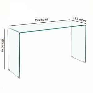 Console de vidro sala de estar transparente temperado borda redonda computador minimalista líquido vermelho mesa de vestir casa de volta várias mesas de café