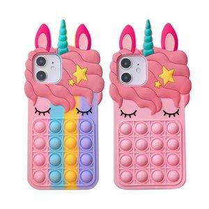 Pop Bubble Fidget Toys Cell Phone Cases Cute Rainbow Eyelash Unicorn for iphone 12 mini 11 X XS Max XR 7 8 6 6s Plus