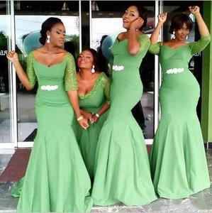 African Mermaid Bridesmaid Dresses Sweetheart Sequin Half Sleeves Formal Maid of Honor Gowns Custom Made Wedding Guest Dress