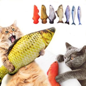 Pet Soft Plush 3D Fish Shape Cat Bite Resistant Toy Interactive Gift Fish Catnip Toys Stuffed Pillow Doll Simulation Fish Playing Toy