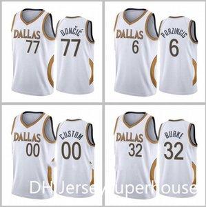 Homens Basquetebol Dallascity Team 77 Doncic 41 Nowitzki 5 Kidd 13 Nash City 2020-21 Branco Jersey