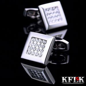 KFLK Jewelry French shirt cufflink for mens Brand Crystal Cuff link Luxury Wedding Button High Quality guests Y1130