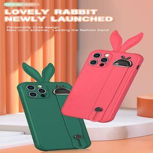 Cute Cartoon Rabbit Ear Phone Case for iPhone 12mini 11 12 Pro Pro max X XS XR XSMAX 7 8PLUS Shockproof Soft TPU Wrist