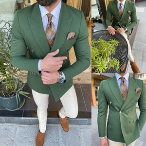 Handsome Dark Green Men Wedding Tuxedos Double Breasted Groom Jacket Suits Party Prom Blazer Clothes Business Wear One Piece