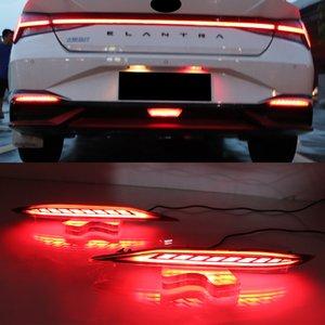 1Set Rear Bumper Reflector Brake Light Red Lens LED Car Warning Fog Lamp turn signal For Hyundai Elantra 2021 2022