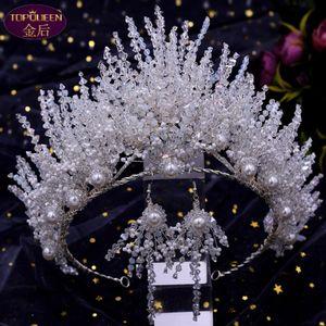 Wedding Tiara Earrings Set Baroque Beautiful Crown Bride Silver Ladies Jewelry Diamond Crowns Bride Wedding Accessories Crown European Style Retro Palace Crown