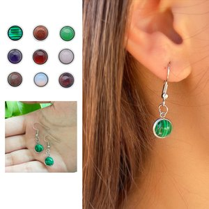 12mm Bohemian Healing Natural Stone Charms Dangle Earrings for Women Cute Mixed Color stainless steel Gemstone Earings Charm Jewelry Gifts