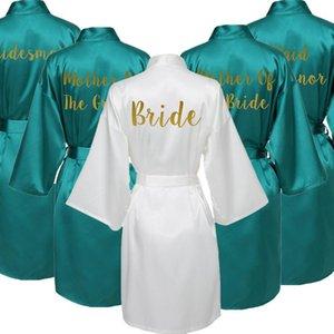 Robas de seda de satén para la bata de mujer Boda Robe Novia Dama de honor Vestido Verde Custom Letra Imprimir Ropa de dormir de las mujeres