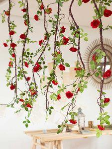 rose chanson fausse fleur shuang artisanat vert plante vigne climatisation tuyau décoration mur suspendue