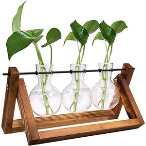 إطار خشبي المصنع المائي زهرية مقهى مكتب سطح المكتب الديكور بونساي وعاء زهرة شفافة مع حامل صينية ديكور المنزل
