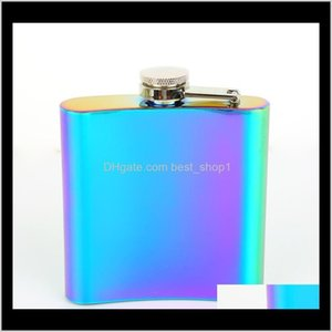 20Pcs 3 Colors 6Oz Hip Flask Flagon Jug Rose Gold Rainbow Colorful Stainless Steel Wine Glass Whiskey Water Bottle Wine Glasses Dftes 6Qcug