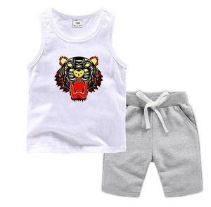 Летние детские комплекты одежды детские без рукавов жилет шорты из двух частей толстовка мальчиков девочек дизайнер детская одежда мультфильм писем печатает 2-7 лет