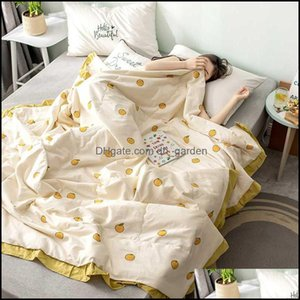 Comforters Bedding Supplies Textiles Gardencomforters & Sets Laciness Design Summer Air-Conditioning Quilt Home Sofa Chair Seat Er Blanket S