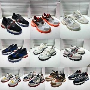 5A Topo Alta Qualidade Monclair Italian Mens Mulheres Sapatos Sapatilhas Itália Triple S Genuine Couro Tela Trainers Preto Branco Casual Moda Plana Laces Plataforma Sapatos