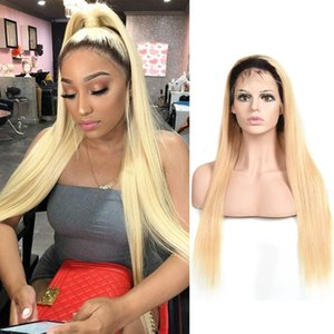 Indian Human Hair 13X4 Lace Front Wig 1B 613 Body Wave Straight Free Part Wigs 12-28inch 1b blonde Ombre Color 150% Density