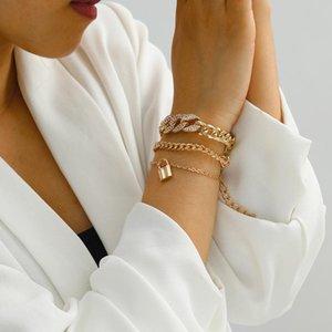 Bangle Fashion Simple Alloy Jewelry Personality Exaggeration Multi-layer Micro Diamond Inlaid Lock Pendant Bracelet