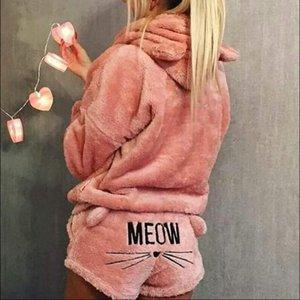 Neue Winter Flanell Pyjamas Set Womens Sleecwears Bär Kapuze Warm Coral Fleece Nachtwäsche Hoodie Kurzes Tow 2pcs Anzug