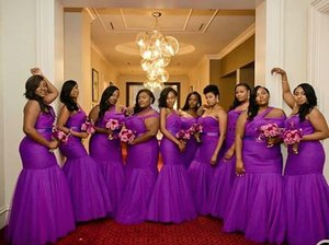 Plus Sizes African Mermaid Bridesmaid Dresses One Shoulder Ruffle Tiered Black Girls Wear Maid Of Honor Dress Wedding Guest Gowns
