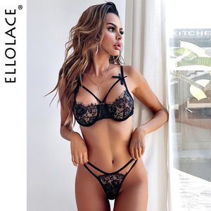 Ellolace Sexy Lingerie Women's Underwear Set Push Up Underwire Bralette And Thong Erotic Black Bra Party Bras Sets