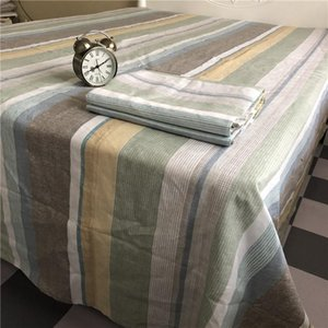 Sheets & Sets Enzyme Washed Color Stripe Linen Flat Bed Sheet Bacteriostatic Anti-acarien Flax 245*275 Cotton For Queen