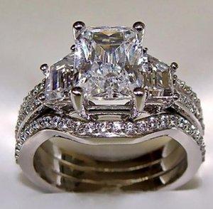 Vintage 10k branco ouro 3ct laboratório anel de diamante 925 esterlina prata bijou casamento anéis de banda de casamento para mulheres homens wjl4569
