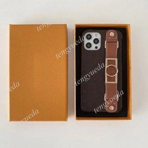 Moda Tasarımcısı Kahverengi Çiçek Desen Telefon Kılıfları iPhone 12 11 Pro Max XS XR XSMAX 7 8 Artı En Kaliteli Deri Bileklik Lüks Cep Telefonu Kapak