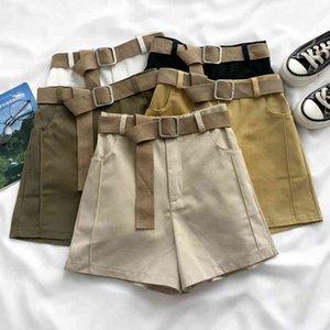 Ashgaily 2021 Nuevos pantalones cortos de cintura alta Mujeres Streetwear Shorts con cinturón All-Match Wide Lef Botters Femenina X0320