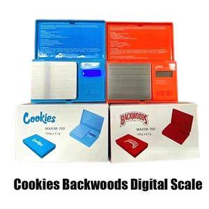 Bolinhos Backwoods Escala Digital Bolsa Azul Vermelho 700g 0.1G Jóias Gold Seco Herb Tabaco Stash Vape Vape Vape Dispositivo de Medição Flip Kit de estilo