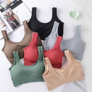 Women Tanks Crop Top Seamless Underwear Female Sport Tops Sexy Lingerie Low Back Sleeveless Padded Camisole Femme Camisoles