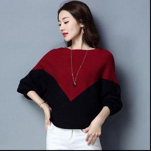 Pull pour femmes Pulls pour femmes Pull en vrac Coton tricoté Coton Batwing Knit Top Automne Pull Dessin Casual Bat Jumper Hops