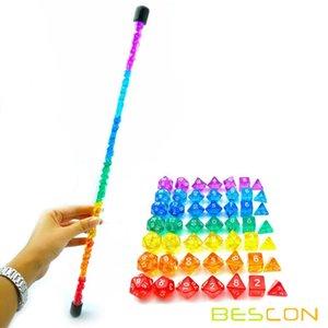 Bcon Mini polyhedron long tube RPG rainbow 7x7 dice, mini gem dice game, 49.ICG2