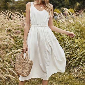 Casual Dresses Women's Romantic V-neck Solid Ankle-length Dress Female Fashion Summer Sleeveless A-line Splicing Vestido De Mujer